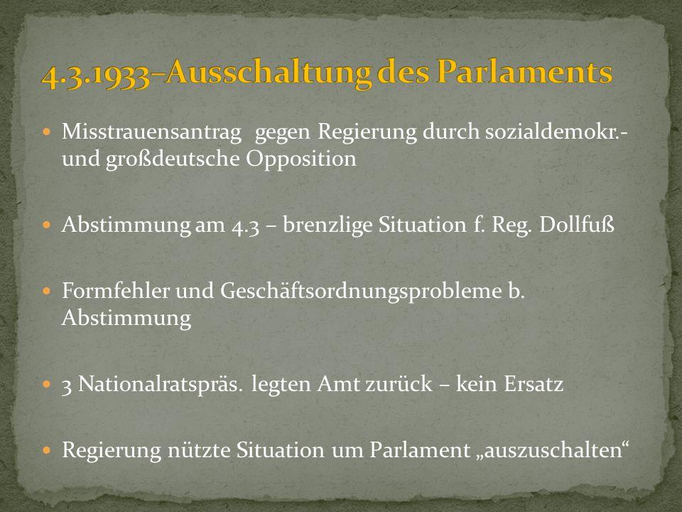 4.3.1933–Ausschaltung des Parlaments