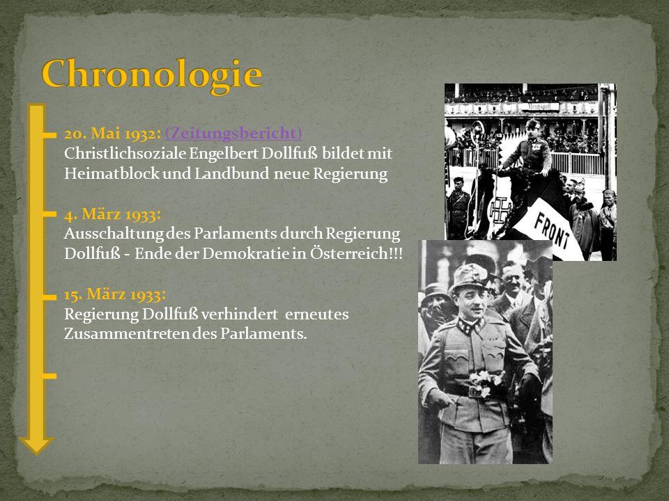 Chronologie 20. Mai 1932: (Zeitungsbericht) Christlichsoziale Engelbert Dollfuß bildet mit Heimatblock und Landbund neue Regierung.