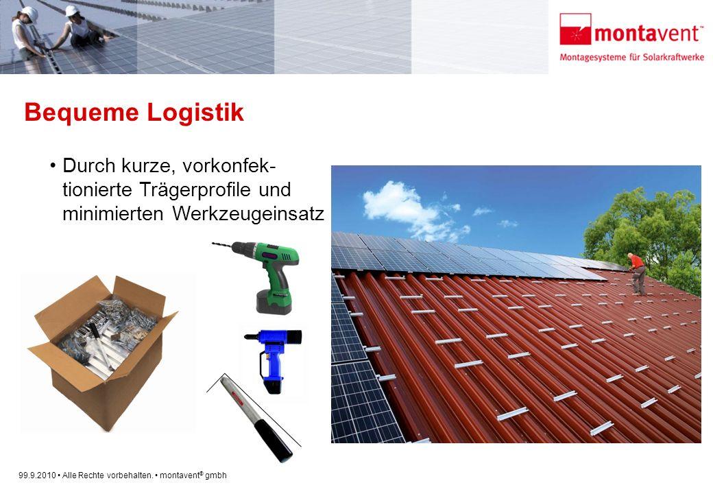 Bequeme Logistik Durch kurze, vorkonfek- tionierte Trägerprofile und minimierten Werkzeugeinsatz.