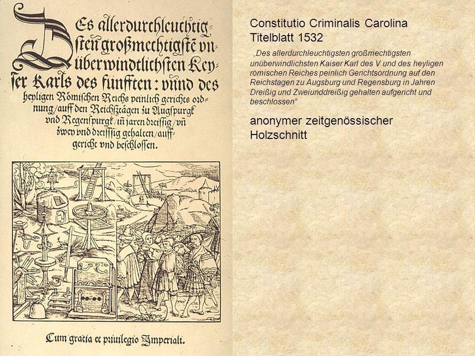 Constitutio Criminalis Carolina Titelblatt 1532