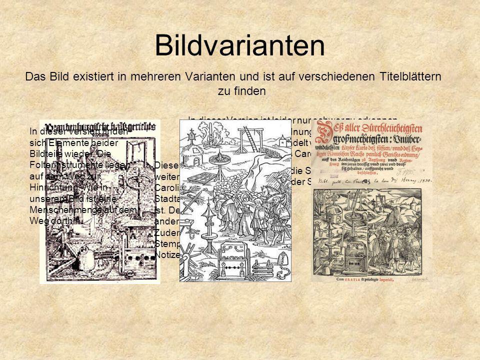 Bildvarianten Das Bild existiert in mehreren Varianten und ist auf verschiedenen Titelblättern zu finden.