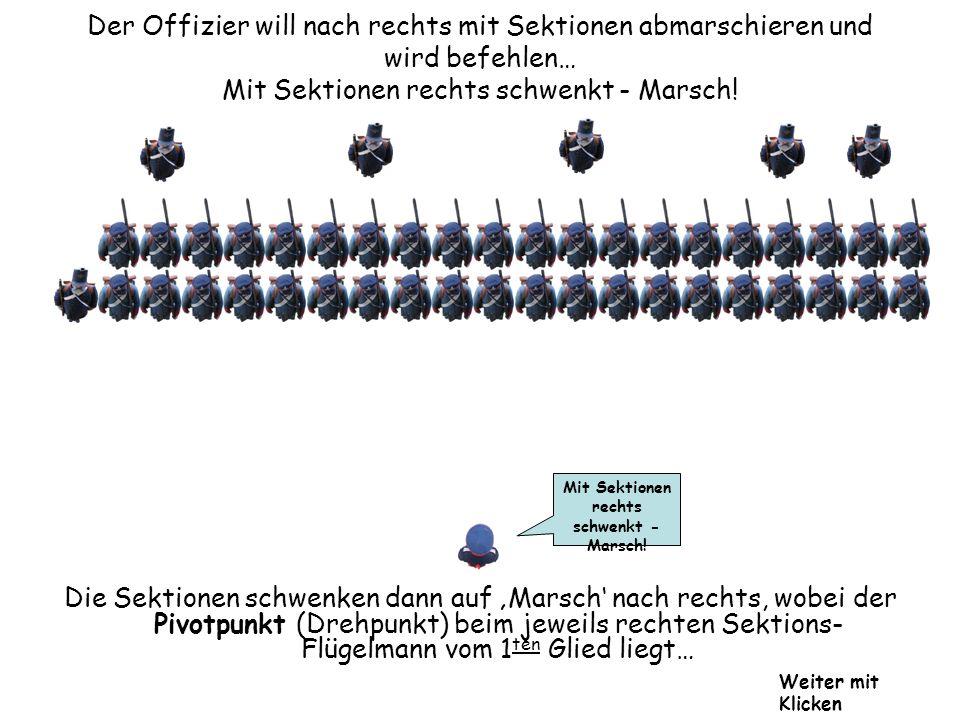 Der Offizier will nach rechts mit Sektionen abmarschieren und wird befehlen… Mit Sektionen rechts schwenkt - Marsch!