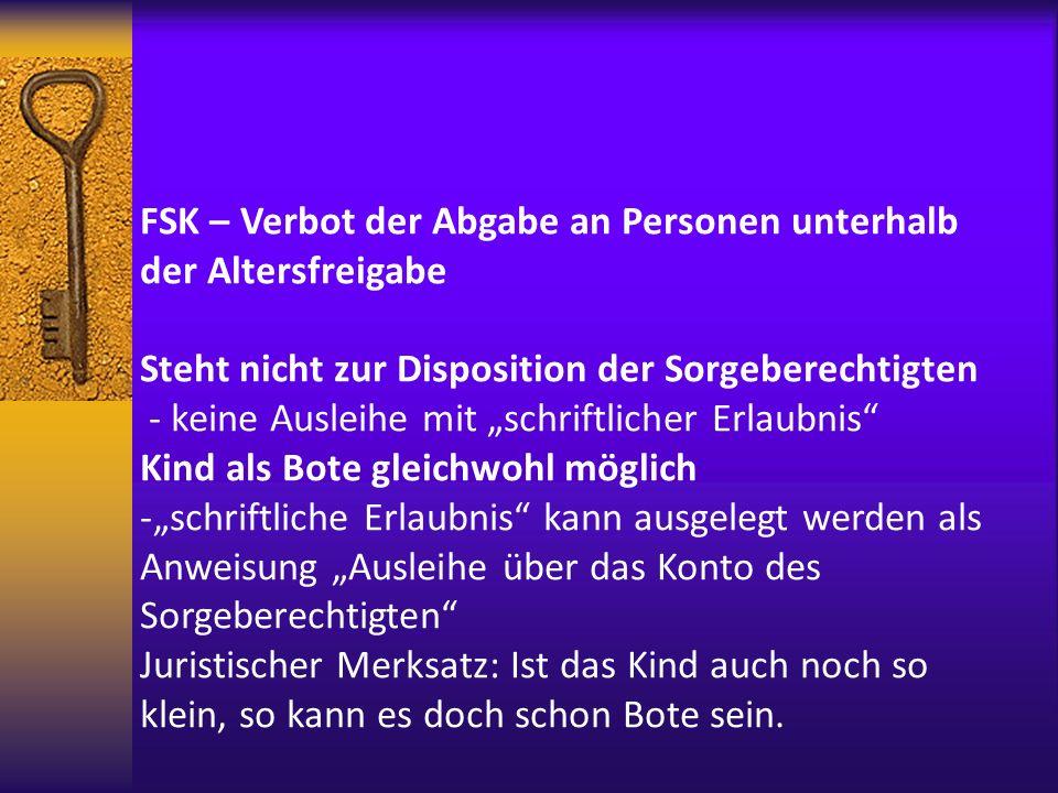 FSK – Verbot der Abgabe an Personen unterhalb der Altersfreigabe