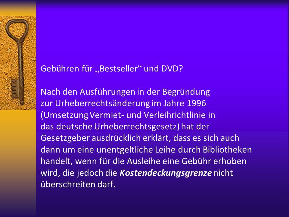 """Gebühren für """"Bestseller und DVD"""