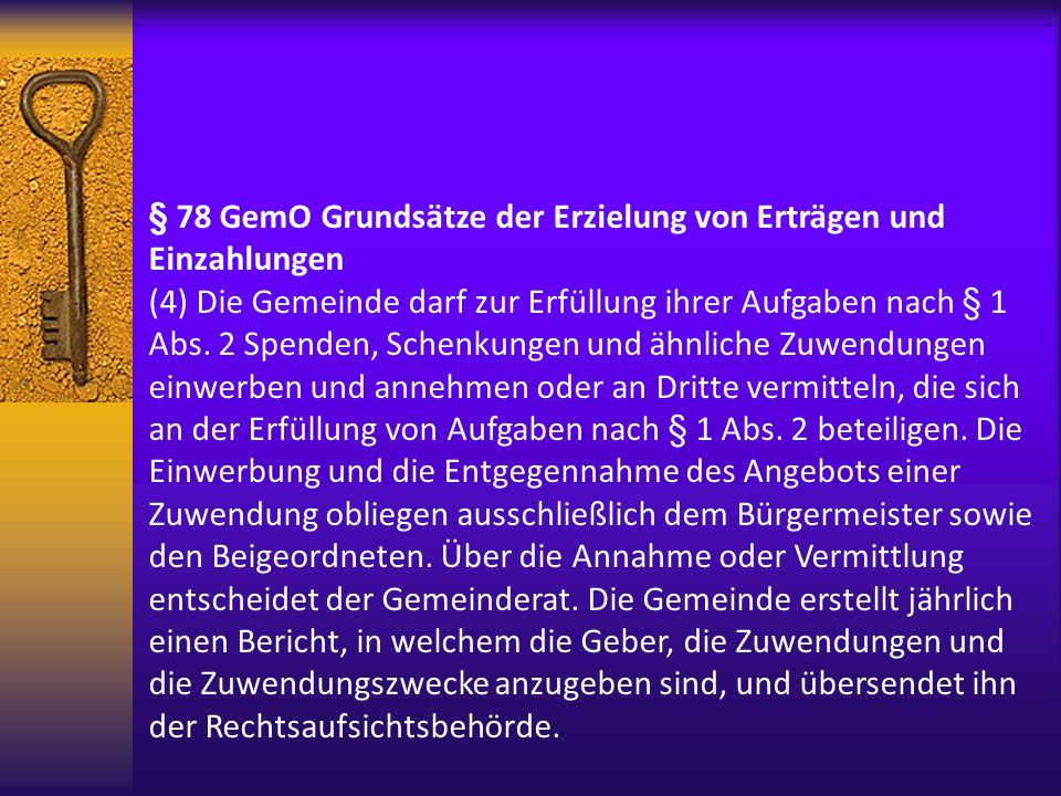 § 78 GemO Grundsätze der Erzielung von Erträgen und Einzahlungen