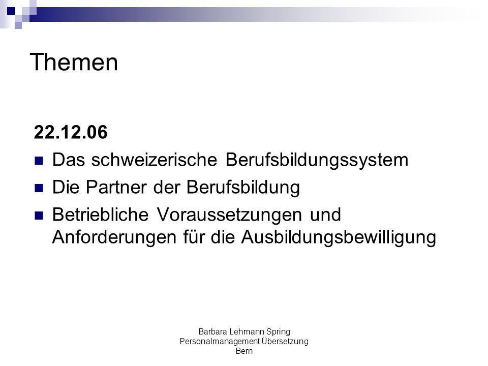 Barbara Lehmann Spring Personalmanagement Übersetzung Bern