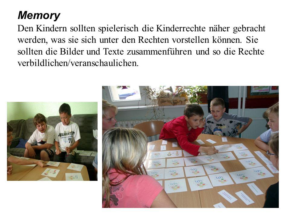 Memory Den Kindern sollten spielerisch die Kinderrechte näher gebracht werden, was sie sich unter den Rechten vorstellen können.