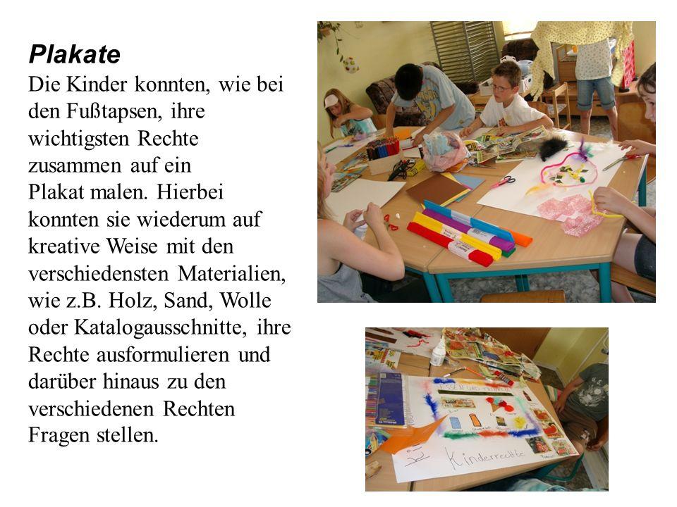 Plakate Die Kinder konnten, wie bei den Fußtapsen, ihre wichtigsten Rechte zusammen auf ein Plakat malen.