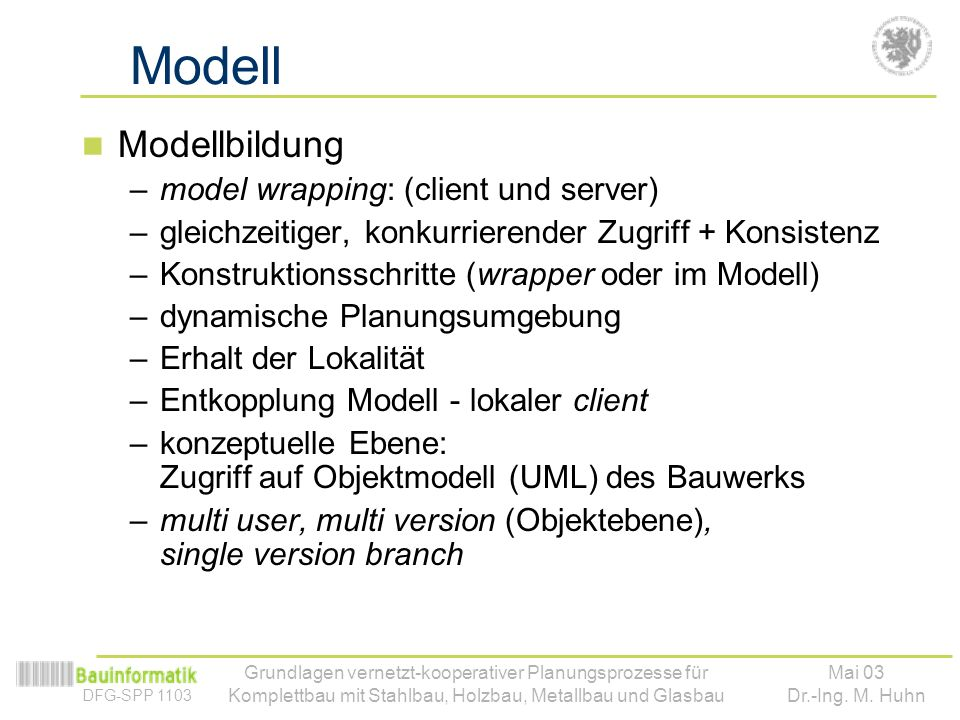 Modell Modellbildung model wrapping: (client und server)