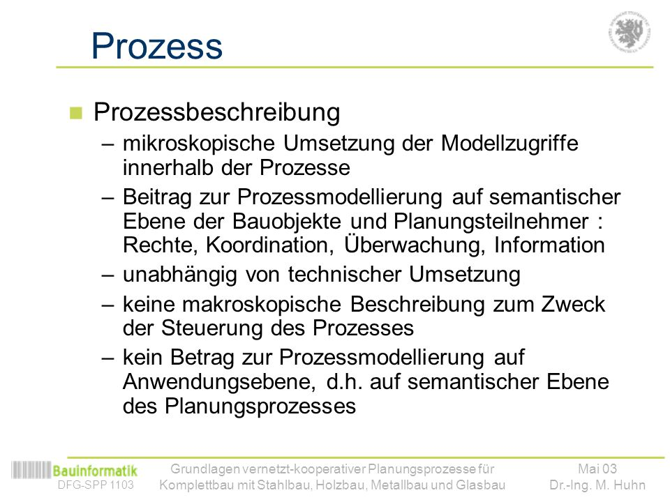 Prozess Prozessbeschreibung