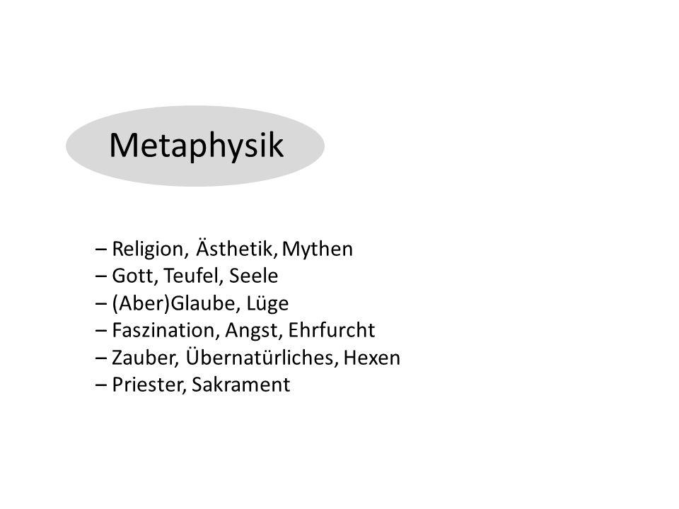 Metaphysik – Religion, Ästhetik, Mythen – Gott, Teufel, Seele