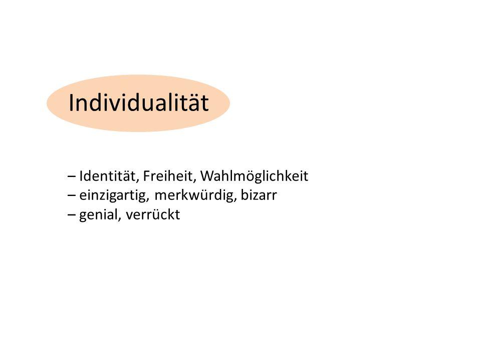 Individualität – Identität, Freiheit, Wahlmöglichkeit