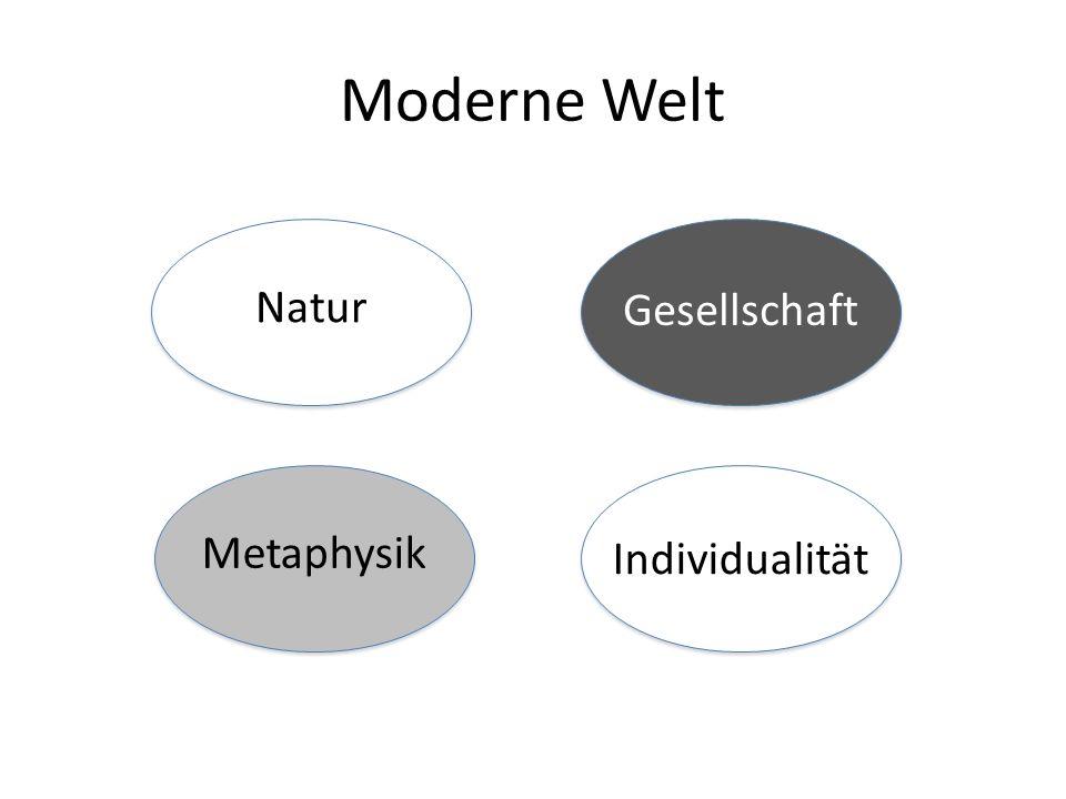 Moderne Welt Natur Gesellschaft Metaphysik Individualität