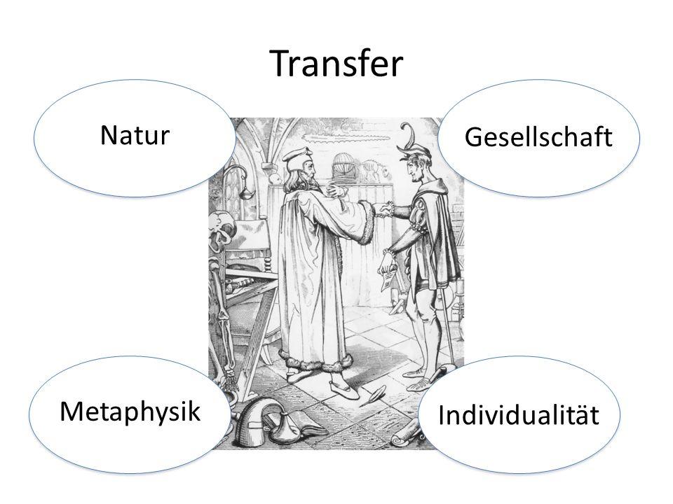 Transfer Natur Gesellschaft Metaphysik Individualität