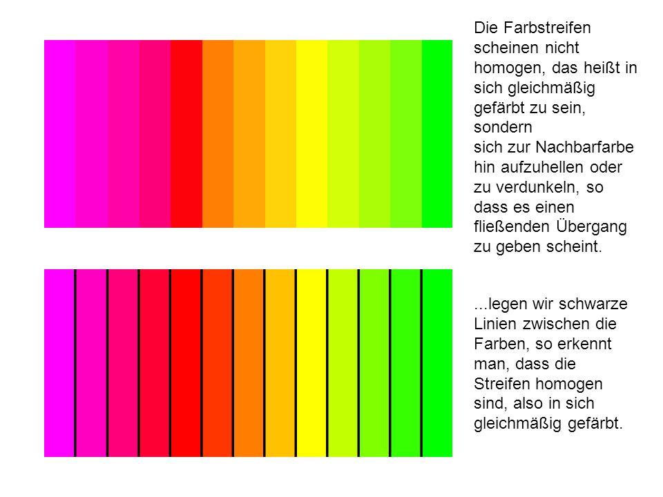 Die Farbstreifen scheinen nicht homogen, das heißt in sich gleichmäßig gefärbt zu sein, sondern sich zur Nachbarfarbe hin aufzuhellen oder zu verdunkeln, so dass es einen fließenden Übergang zu geben scheint.