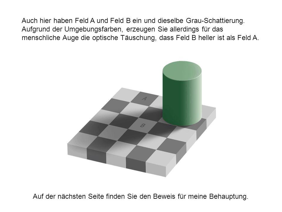 Auch hier haben Feld A und Feld B ein und dieselbe Grau-Schattierung