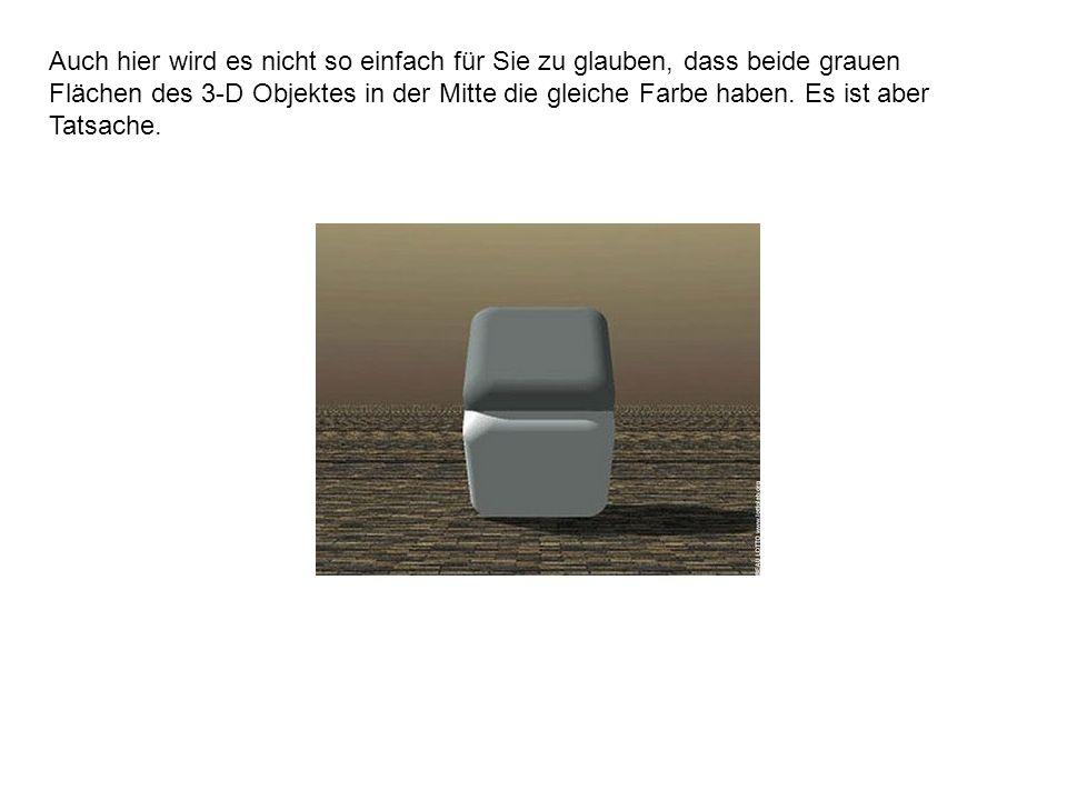 Auch hier wird es nicht so einfach für Sie zu glauben, dass beide grauen Flächen des 3-D Objektes in der Mitte die gleiche Farbe haben.
