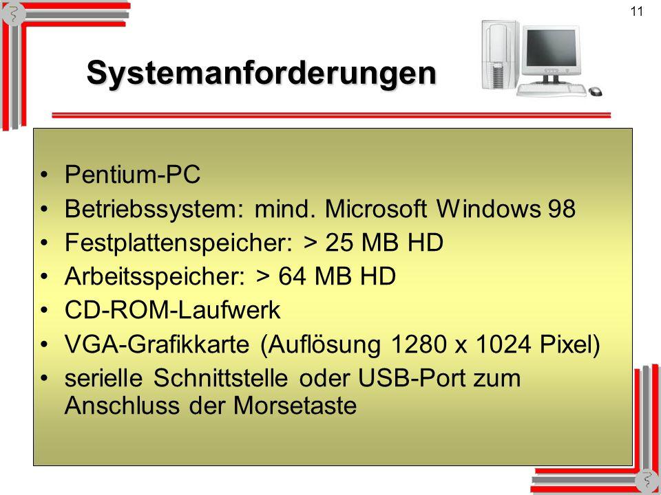 Systemanforderungen Pentium-PC