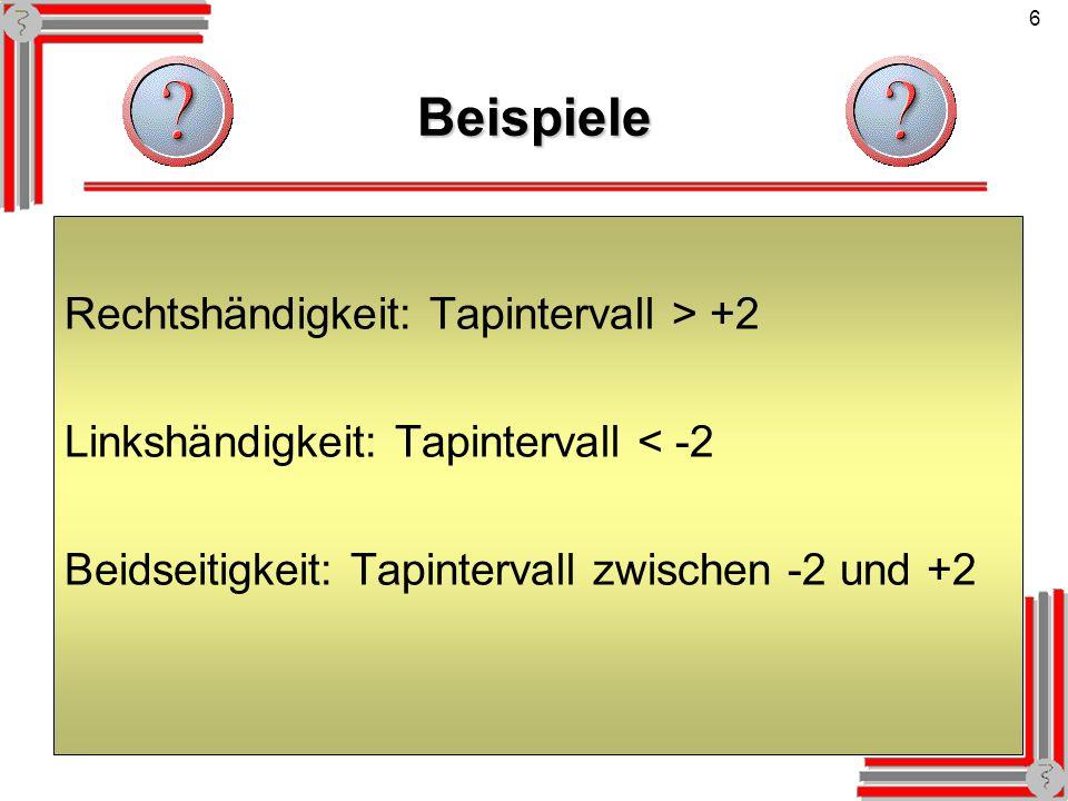 Beispiele Rechtshändigkeit: Tapintervall > +2