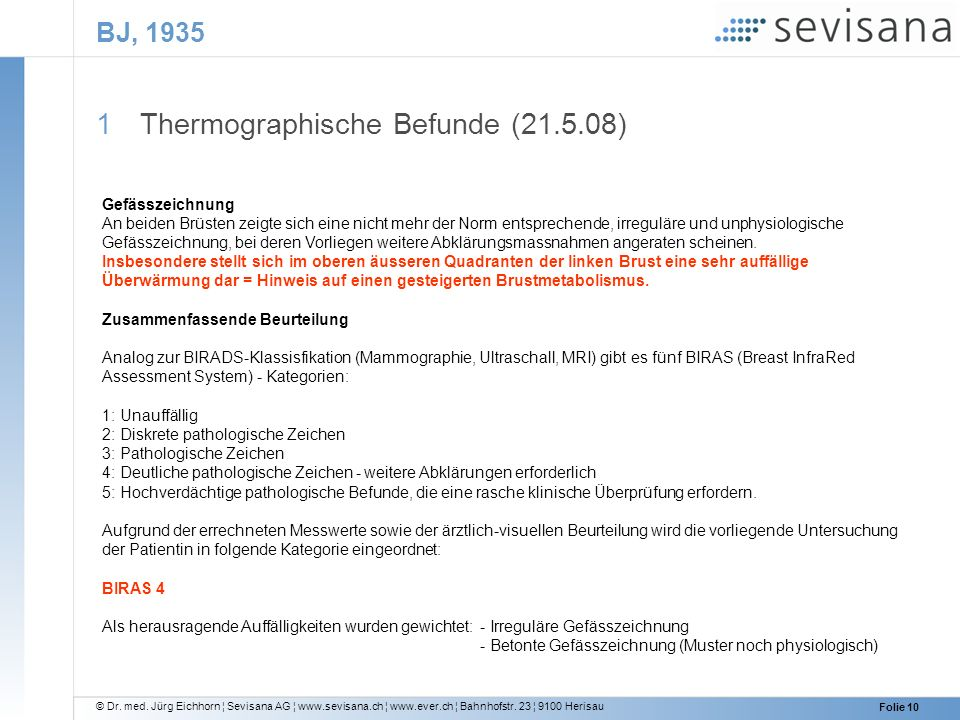 Thermographische Befunde ( )
