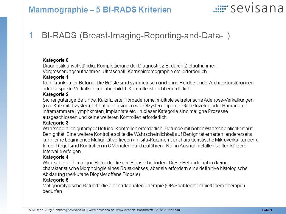 Mammographie – 5 BI-RADS Kriterien