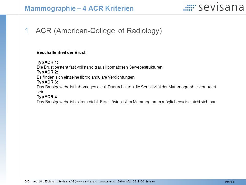 Mammographie – 4 ACR Kriterien