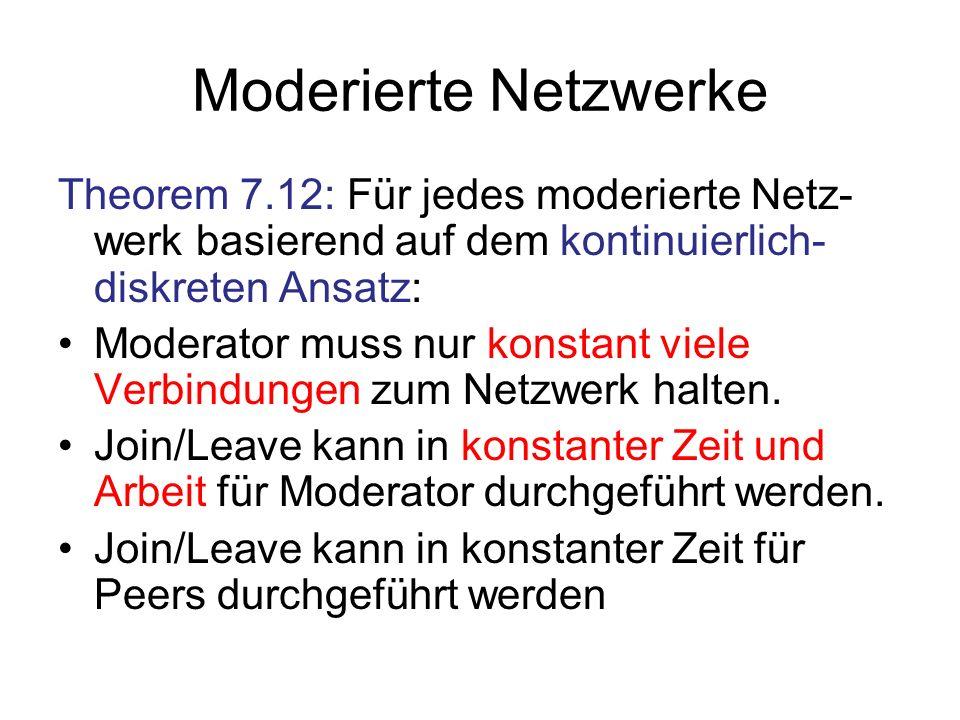 Moderierte Netzwerke Theorem 7.12: Für jedes moderierte Netz-werk basierend auf dem kontinuierlich-diskreten Ansatz: