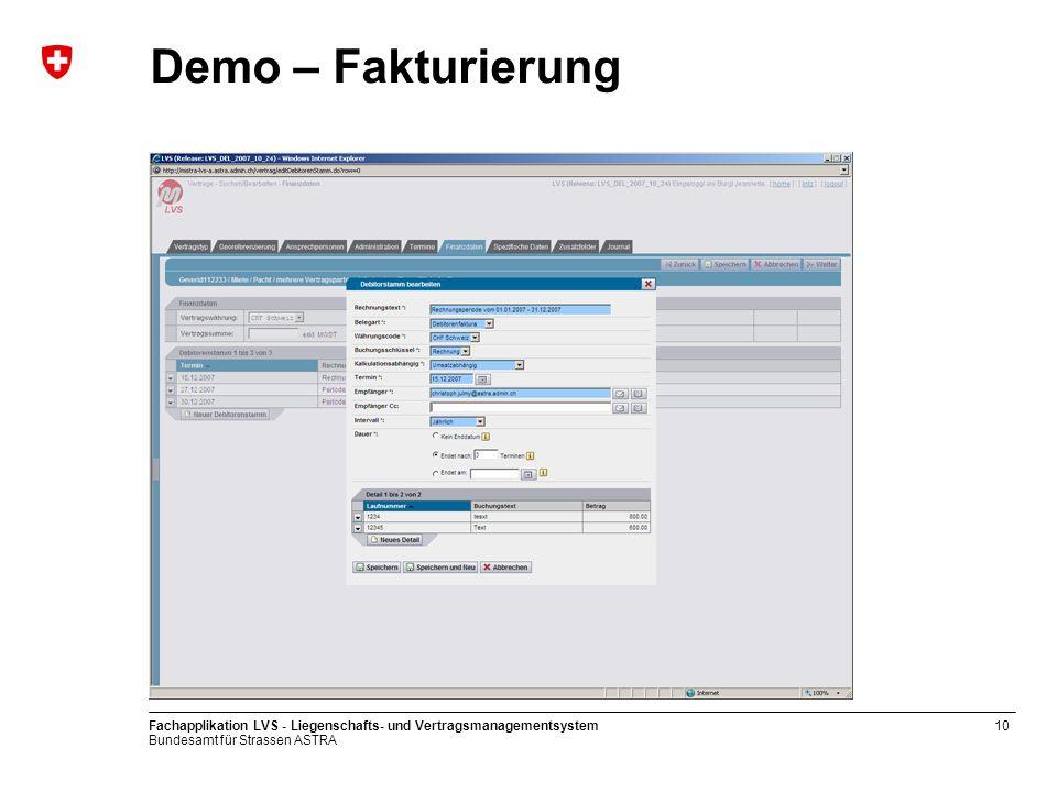 Demo – Fakturierung Fachapplikation LVS - Liegenschafts- und Vertragsmanagementsystem