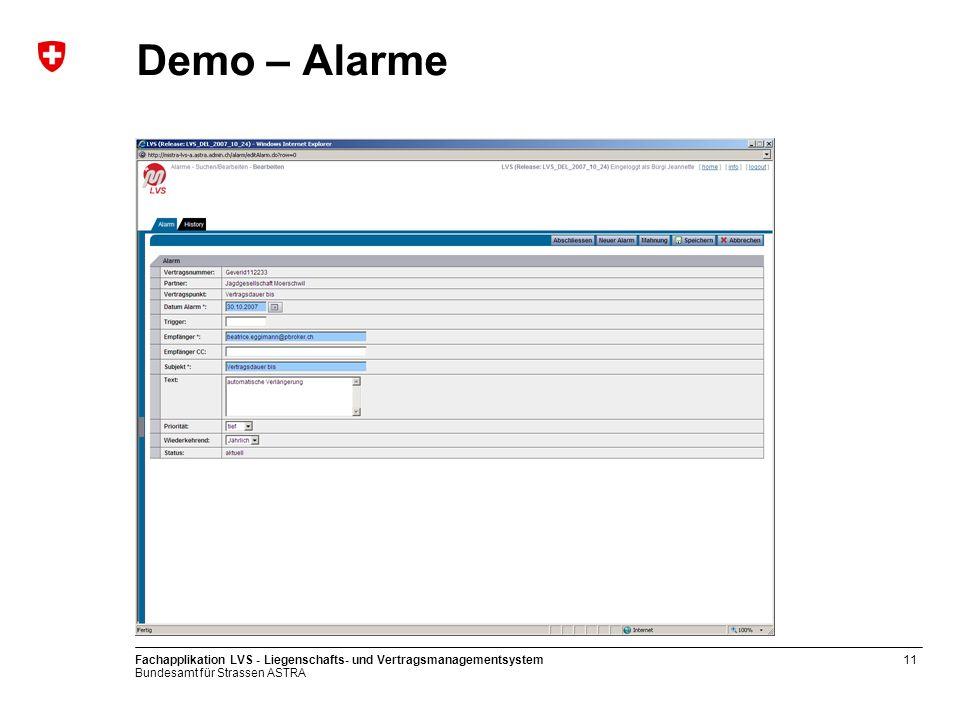 Demo – Alarme Fachapplikation LVS - Liegenschafts- und Vertragsmanagementsystem