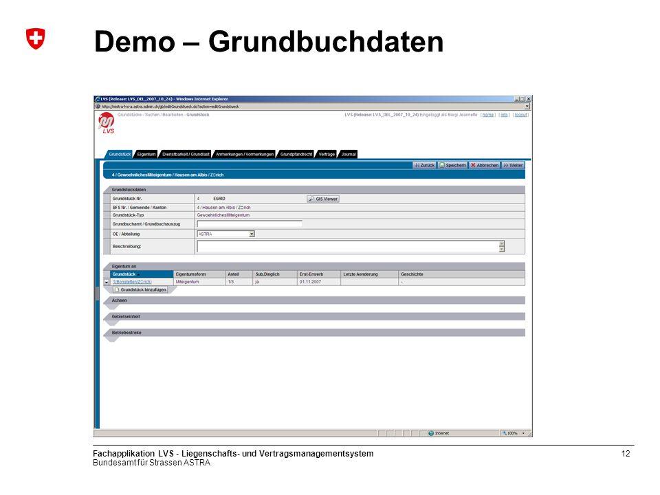 Demo – Grundbuchdaten Fachapplikation LVS - Liegenschafts- und Vertragsmanagementsystem