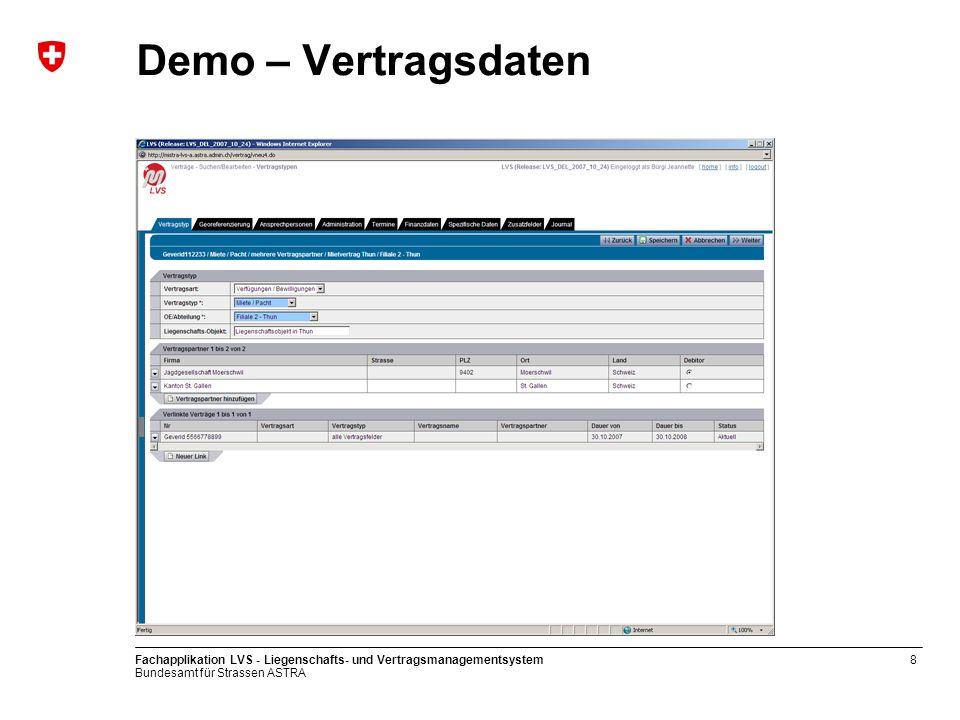 Demo – Vertragsdaten Fachapplikation LVS - Liegenschafts- und Vertragsmanagementsystem