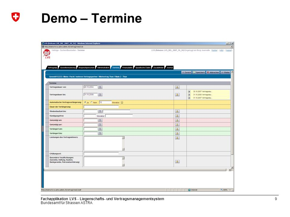Demo – Termine Fachapplikation LVS - Liegenschafts- und Vertragsmanagementsystem