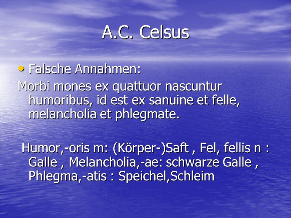 A.C. Celsus Falsche Annahmen: