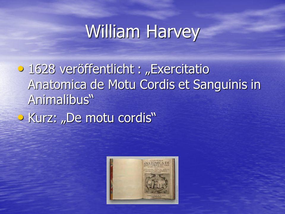 """William Harvey 1628 veröffentlicht : """"Exercitatio Anatomica de Motu Cordis et Sanguinis in Animalibus"""