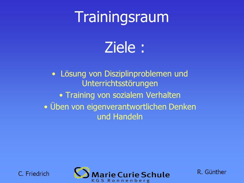 Trainingsraum Ziele : Lösung von Disziplinproblemen und Unterrichtsstörungen. Training von sozialem Verhalten.