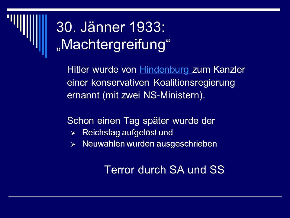 """30. Jänner 1933: """"Machtergreifung"""