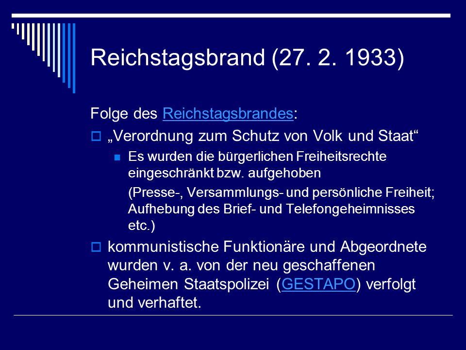 Reichstagsbrand (27. 2. 1933) Folge des Reichstagsbrandes: