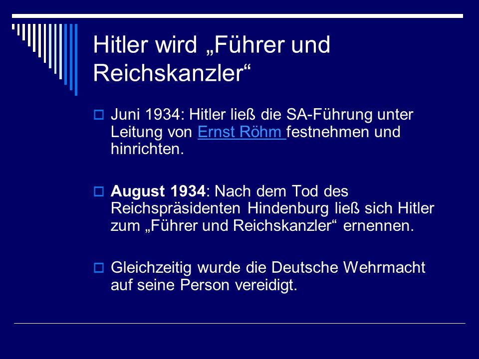 """Hitler wird """"Führer und Reichskanzler"""