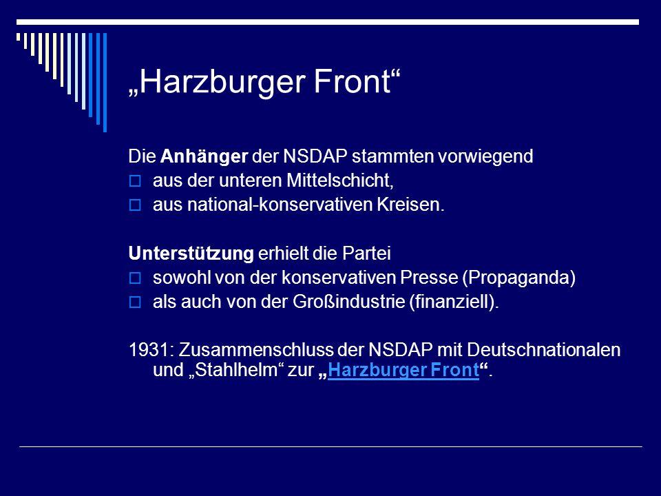 """""""Harzburger Front Die Anhänger der NSDAP stammten vorwiegend"""
