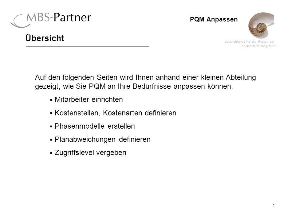 Übersicht Auf den folgenden Seiten wird Ihnen anhand einer kleinen Abteilung gezeigt, wie Sie PQM an Ihre Bedürfnisse anpassen können.