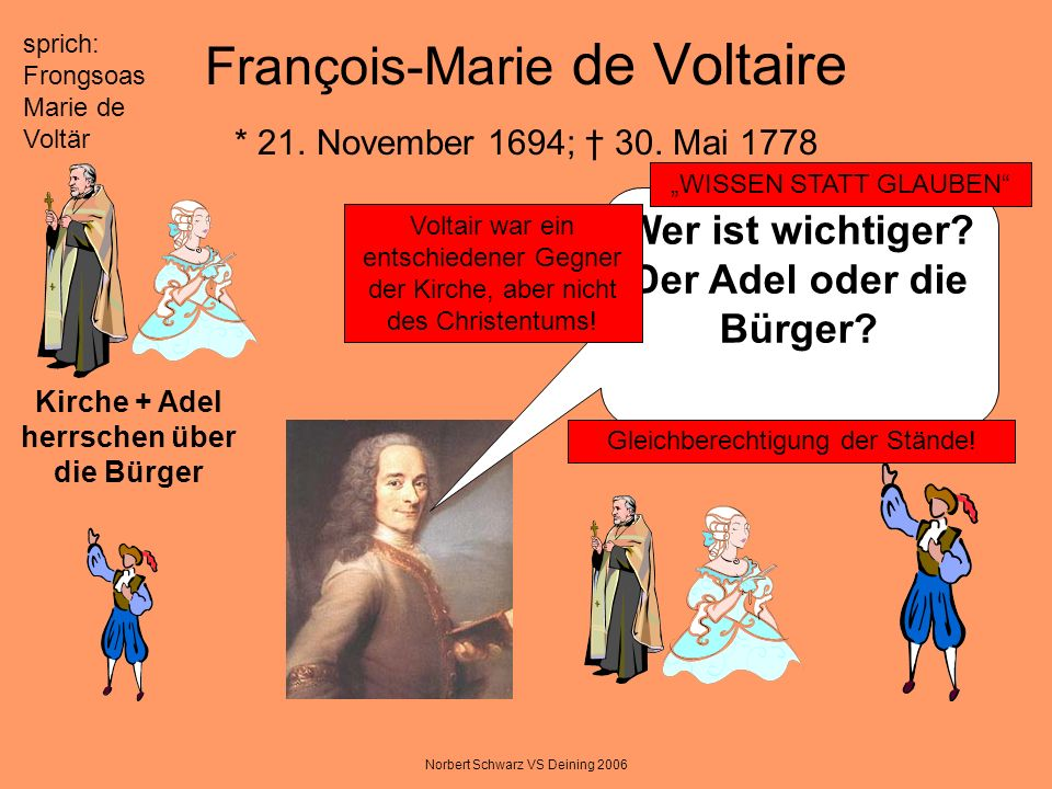 François-Marie de Voltaire * 21. November 1694; † 30. Mai 1778