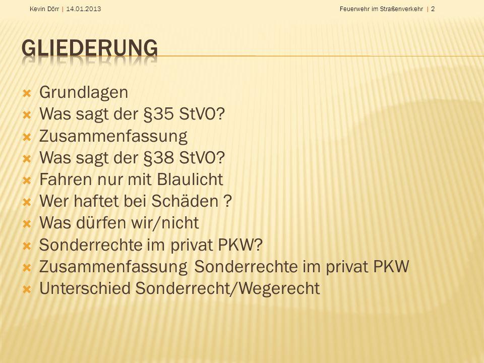 Gliederung Grundlagen Was sagt der §35 StVO Zusammenfassung