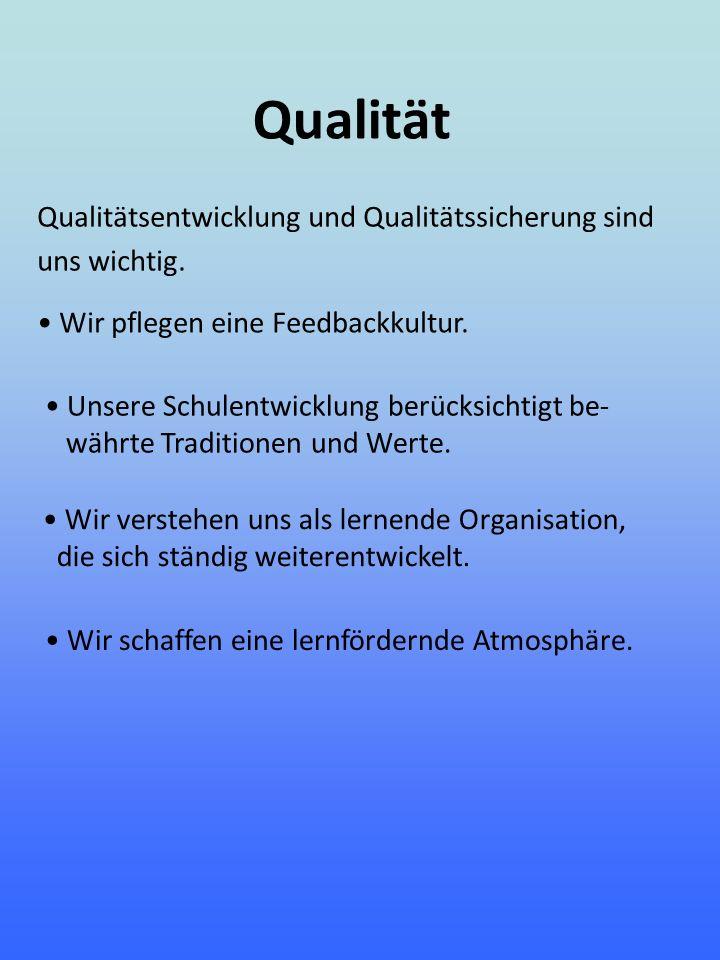 Qualität Qualitätsentwicklung und Qualitätssicherung sind uns wichtig.