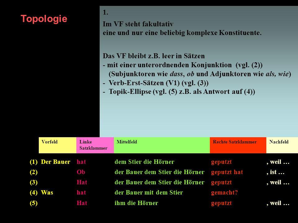 1. Im VF steht fakultativ eine und nur eine beliebig komplexe Konstituente.