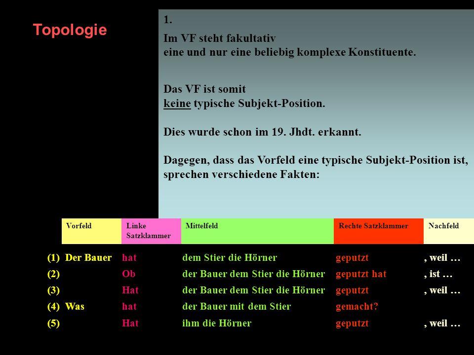 1. Im VF steht fakultativ eine und nur eine beliebig komplexe Konstituente. Das VF ist somit keine typische Subjekt-Position.
