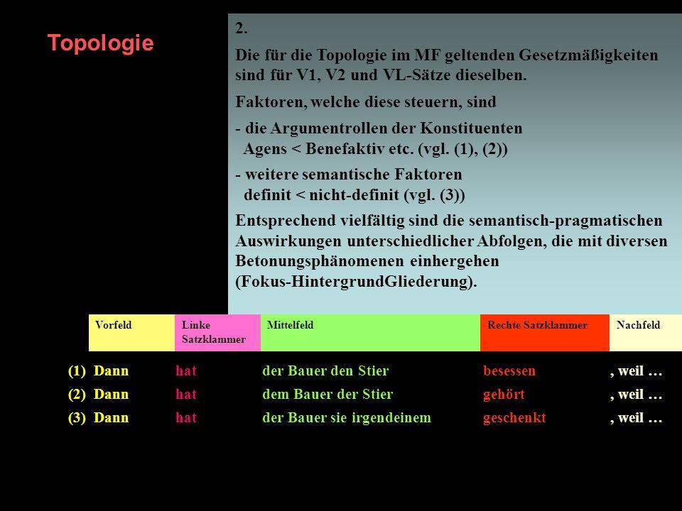2. Die für die Topologie im MF geltenden Gesetzmäßigkeiten sind für V1, V2 und VL-Sätze dieselben. Faktoren, welche diese steuern, sind.
