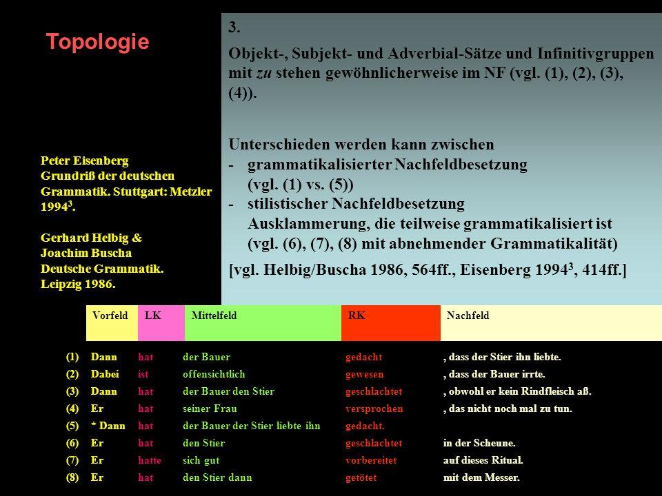 3. Objekt-, Subjekt- und Adverbial-Sätze und Infinitivgruppen mit zu stehen gewöhnlicherweise im NF (vgl. (1), (2), (3), (4)).