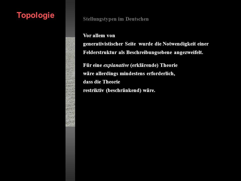 Topologie Stellungstypen im Deutschen Vor allem von