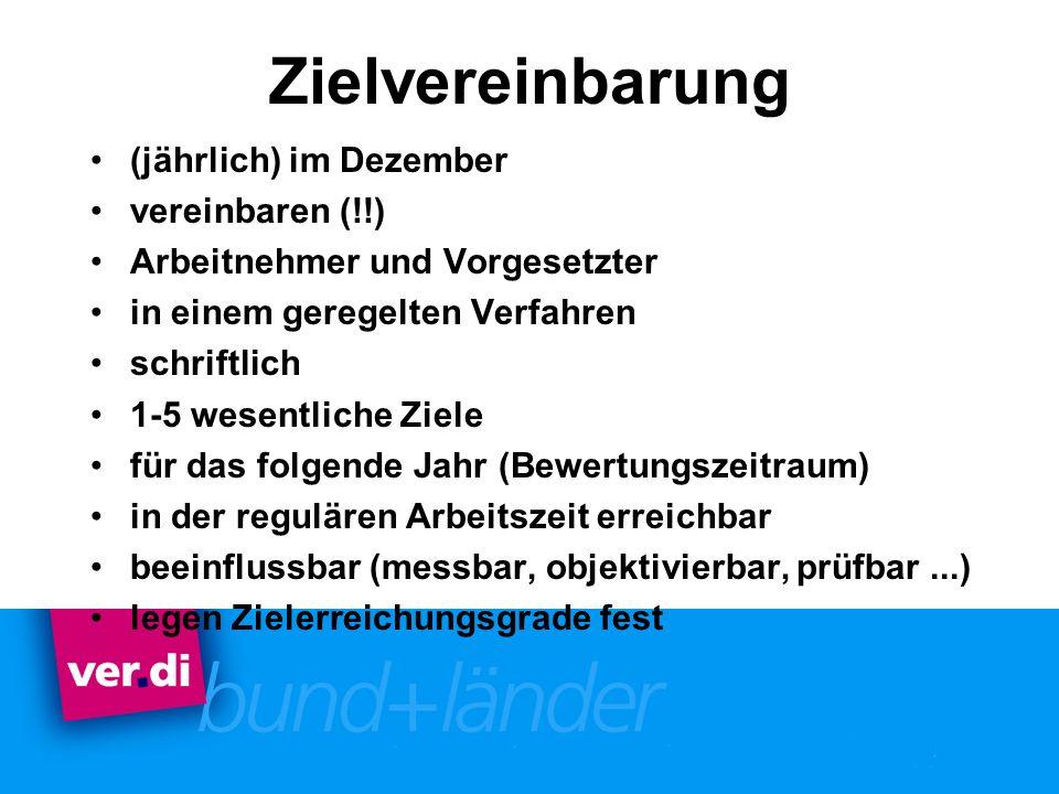 Zielvereinbarung (jährlich) im Dezember vereinbaren (!!)