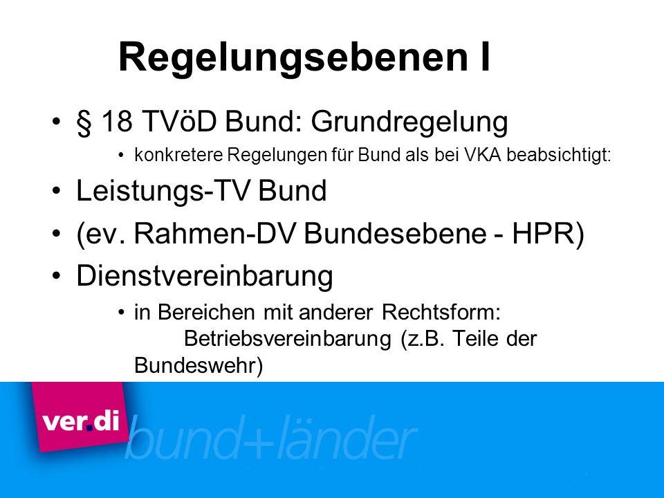 Regelungsebenen I § 18 TVöD Bund: Grundregelung Leistungs-TV Bund